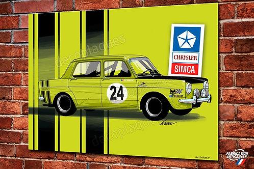 Plaque métal Simca 1000 Rallye (verte) déco garage vintage par Ivan Brossard