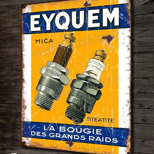 """Plaque métal déco , Bougie """"Eyquem"""" imitation plaque émaillée, déco garage"""