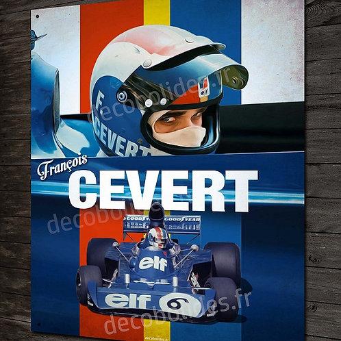 Plaque métal déco Artwork François Cevert pilote et champion de Formule 1 Tyrrel