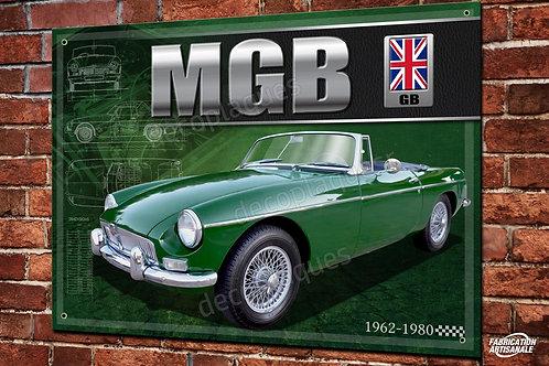 Plaque métal déco MG MGB Roadster British green déco garage vintage, voiture de