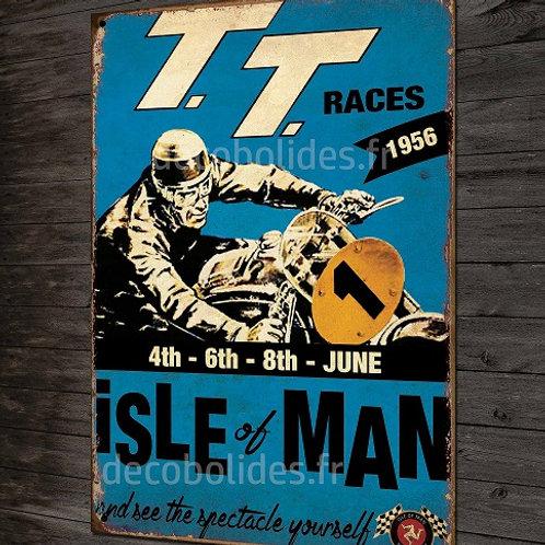 Plaque métal motard TT 1956 île de man( bleu) déco garage moto vintage.
