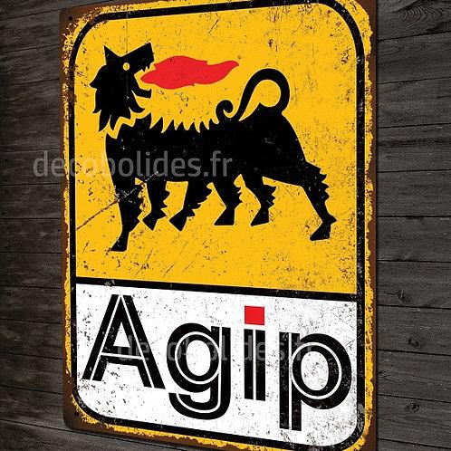 Plaque métal déco huile AGIP  déco garage voitures anciennes italiennes