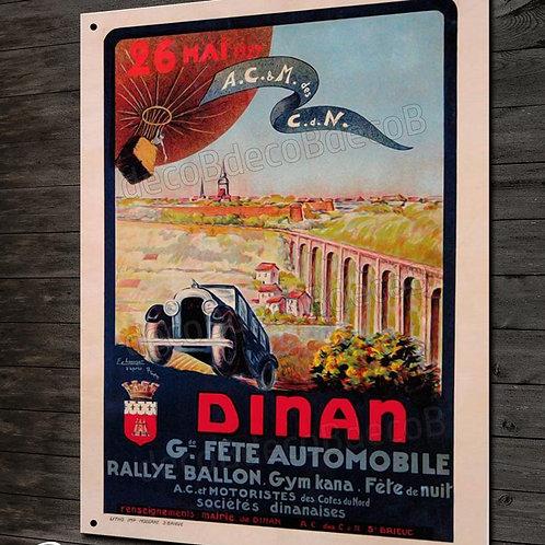 Plaque métal déco, reproduction ancienne affiche publicitaire rallye automobile