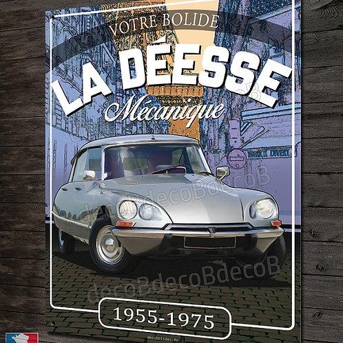 """Plaque métal déco Citroën DS """" la Déesse mécanique """" déco garage vintage"""
