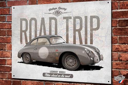 Plaque métal Porsche 356 grise déco garage classic artwork Christophe C