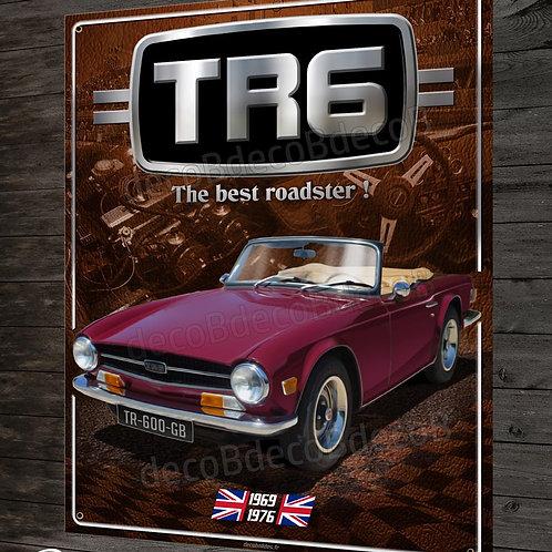 Plaque métal Triumph TR6 british roadster, déco garage voiture collection