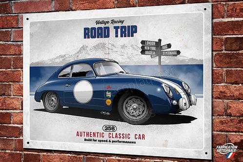 Plaque métal Porsche 356 bleue déco garage classic artwork Christophe Clérici