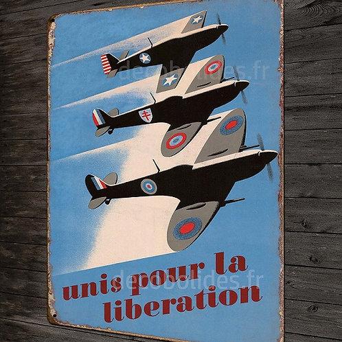 Plaque métal déco avions libération, mustang, spitfire seconde guerre mondiale