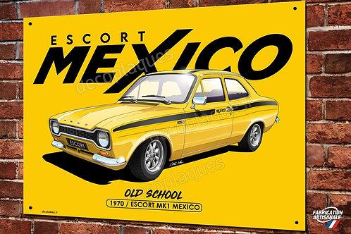 Plaque métal  Ford Escort Mexico, rallye vintage,artwork Christophe Clérici
