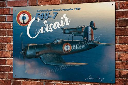 Plaque métal avion Corsair F4U-7 aéronavale Française warbird artwork J.Camp