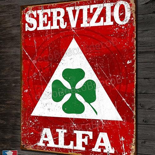 Plaque métal Servizio Alfa Romeo déco garage Alfa vintage et moderne.