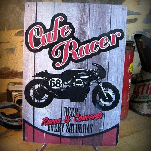 Plaque métal moto Cafe racer, déco garage motard motorcycle vintage