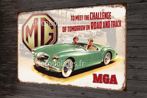 Plaque métal déco MGA British motor corporation, déco garage vintage
