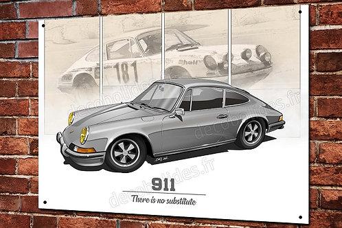 Plaque métal Porsche 911 gris et beige déco garage  artwork Christophe clérici