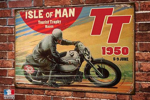 Plaque métal motard TT tourist trophy 1950,déco garage moto vintage.