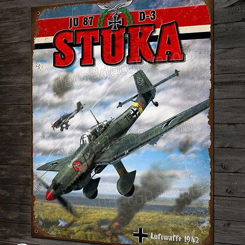 Plaque métal déco Junkers JU 87 STUKA Bombardier en piqué WW2 Luftwaffe