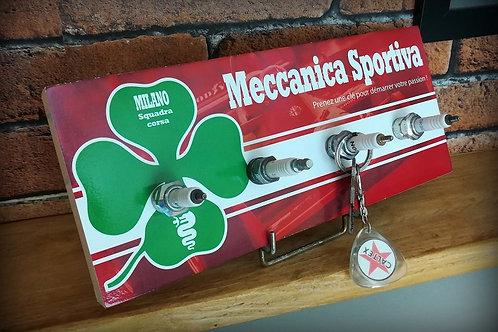"""Accroche clés mural 4 bougies Alfa Romeo """"Meccanica Sportiva"""""""
