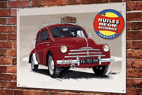 Plaque métal Renault 4cv, déco garage Régie Nationale artwork Ivan Brossard