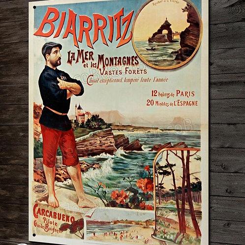 Plaque métal reproduction affiche vintage touristique ville de Biarritz