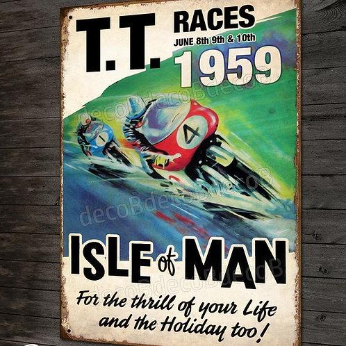Plaque métal, TT races Tourist trophy, Isle of Man 1959, déco garage moto rétro