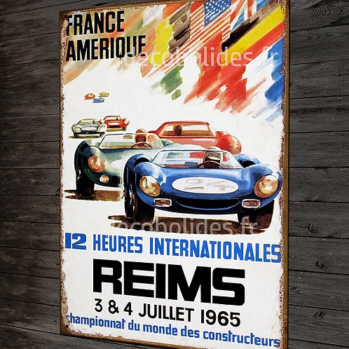Plaque métal déco affiche course autos 12 H internationales de Reims 1965