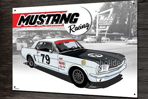 Plaque métal Ford Mustang racing, déco garage vintage artwork Ivan Brossard
