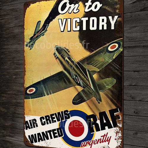 Plaque métal déco Victory RAF chasseur supermarine spitfire