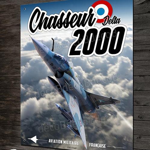 Plaque métal déco chasseur Delta Mirage 2000 Armée de l'air Française.