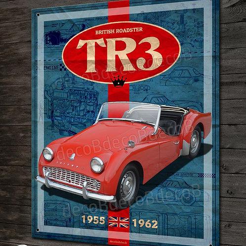 Plaque métal Triumph TR3 british roadster, déco garage voiture collecti
