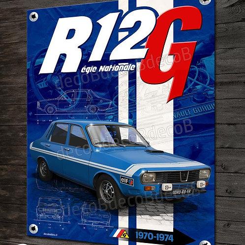 Plaque métal  Renault R12 Gordini Régie Nationale, déco garage Renault vintage