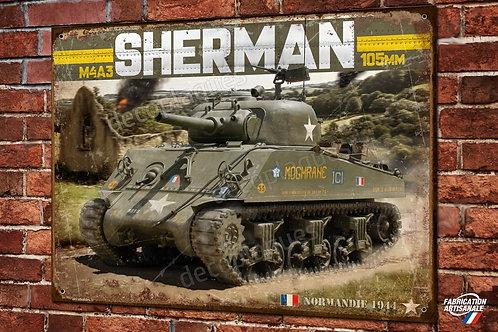Plaque métal déco Tank Sherman M4A3 105mm division Leclerc D Day Normandie
