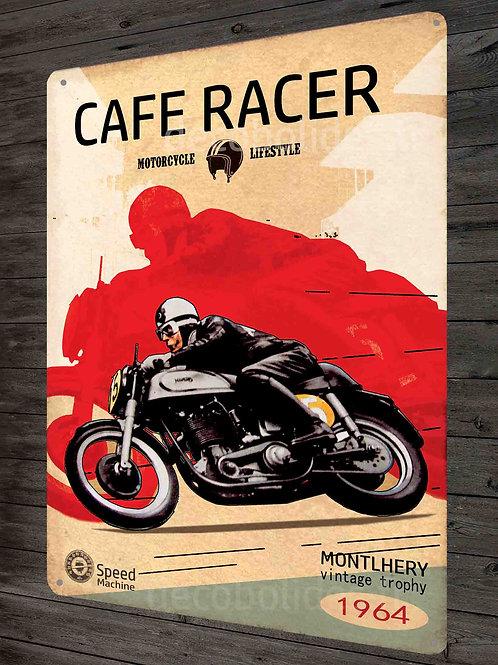 """Plaque métal moto Cafe Racer,""""Motorcycle Montlhéry"""" déco garage rétro"""
