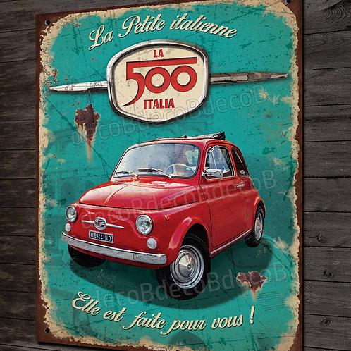 """Plaque métal déco Fiat 500 rouge """" la petite italienne """" style plaque émaillée"""