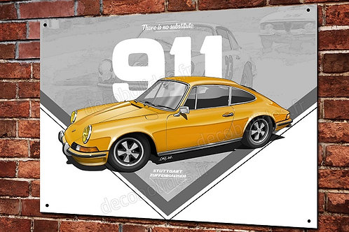 Plaque métal Porsche 911classic jaune déco garage  artwork Christophe Clérici