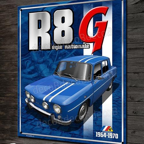"""Plaque métal"""" Renault R8 G Gordini régie nationale"""" déco garage Renault vintage"""