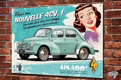 Plaque métal déco Renault 4CV, illustration de Christophe Clérici.