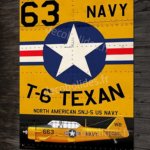 Plaque métal déco North american T-6 Texan US Navy warbird WW2