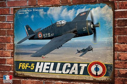 Plaque métal avion chasseur Hellcat F6F-5 aéronavale Française