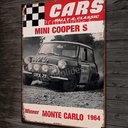 Plaque Métal déco image vintage Austin mini cooper S, déco garage vintage
