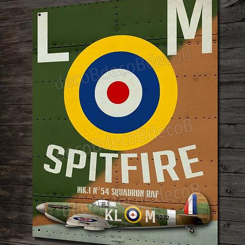 Plaque métal déco chasseur supermarine Spitfire Mk1 bataille d'Angleterre WW2