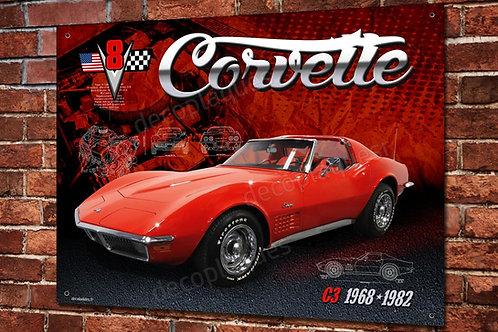 Plaque métal déco Chevrolet Corvette C3, American Muscle car V8.
