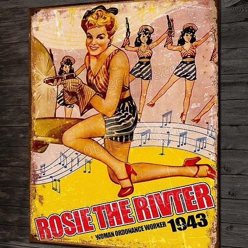 Plaque métal déco Rosie the rivter, pin-up vintage et avion WW2