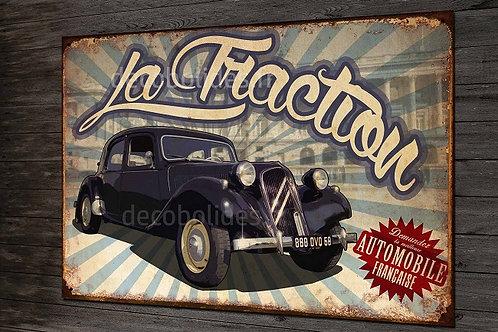 Plaque métal déco Citroën Traction, déco garage vintage Citroën.