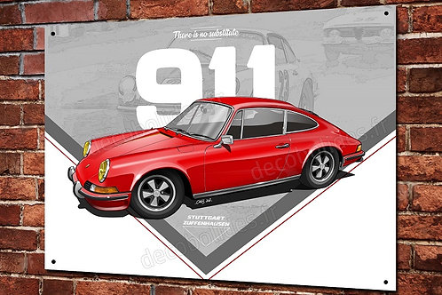 Plaque métal Porsche 911 classic rouge déco garage artwork Christophe Clérici