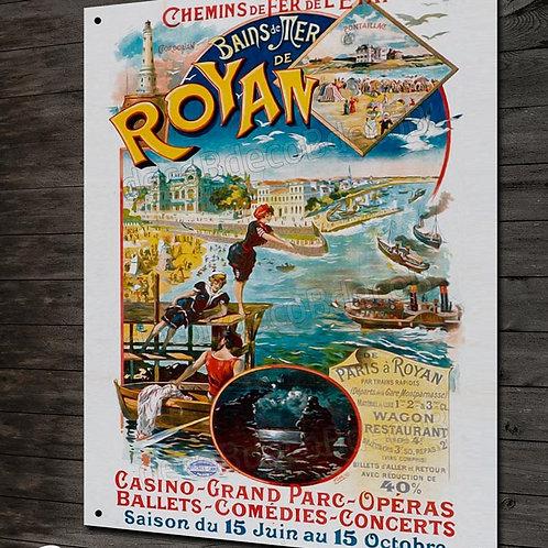 Plaque métal reproduction affiche touristique ancienne Royan.