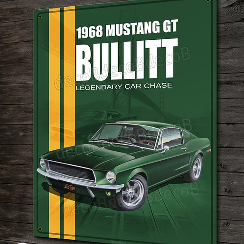 Plaque métal, oeuvre d'art 1968 Mustang GT Bullitt