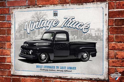 Plaque métal Vintage Truck, pick-up Ford F1 déco garage, artwork Chris Clérici