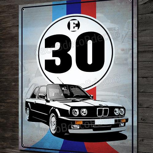Plaque métal déco BMW Motorsport série 3 E30 youngtimer