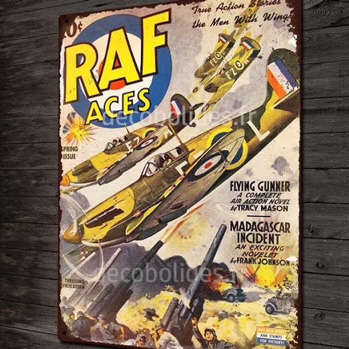 Plaque métal déco RAF aces, reproduction illustration avion spitfire WW2