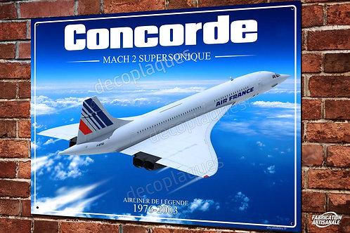 Plaque métal déco œuvre d'art Avion supersonique Concorde